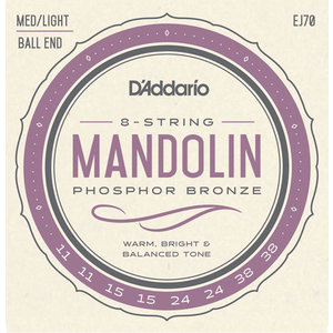 D'Addario Mandolin String Set, Phosphor Bronze, EJ70 Ball End .011-.038
