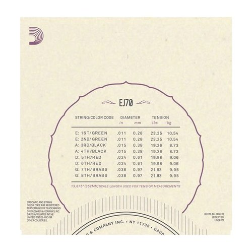 D'Addario D'Addario Mandolin String Set, Phosphor Bronze, EJ70 Ball End .011-.038