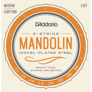 D'Addario Mandolin Strings, Nickel, EJ67 Loop End .011-.039