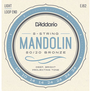 D'Addario Mandolin String Set, 80/20 Bronze, EJ62 Light .010-.034