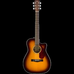 Fender CC-140SCE Electro-Acoustic Concert Guitar, Solid Spruce Top, Rosewood Back, w/ Case, Sunburst