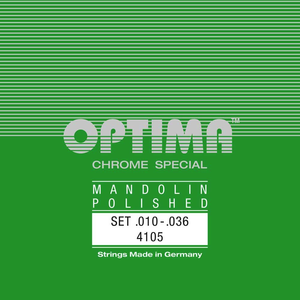 Optima Mandolin String Set, Chrome Specially Polished, Loop End, .010-.036
