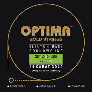Optima Gold Flatwound Bass String Set, .045-.100 Super Long Scale