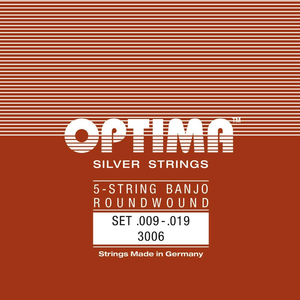 Optima 5-String Banjo String Set, Silver, Ball End, .009-.019