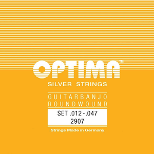 Optima 6-String Guitar Banjo String Set, Silver, Ball End, .012-.047