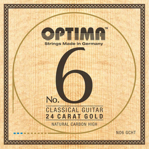 Optima Gold Classical String Set, Gold, Natural Carbon Trebles
