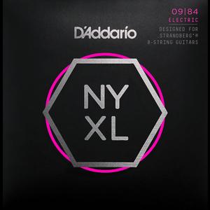 D'Addario NYXL Electric String Set, 8-String for Strandberg Guitars, Custom Light, .009-.084