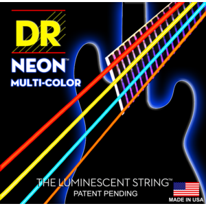 DR Neon 5-String Bass String Set, Multicolour, .045-.125