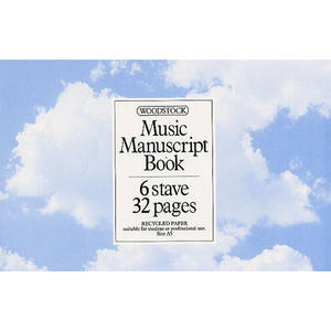 Woodstock Music Manuscript Paper: 6 Stave - 32 pages (A5L Recycled)
