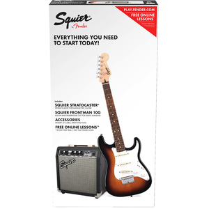Squier Short Scale Stratocaster Pack w/ Frontman 10G Amp, Brown Sunburst