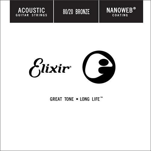 Elixir Elixir Nanoweb Coated Single String, 80/20 Bronze