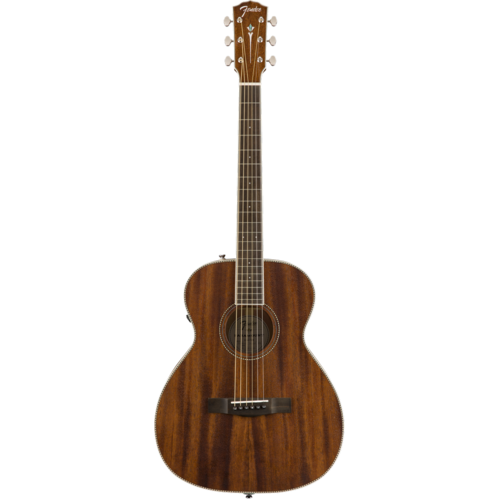 Fender Fender Paramount PM-TE Electro-Acoustic Travel Guitar, All Solid Mahogany w/ Hard Case