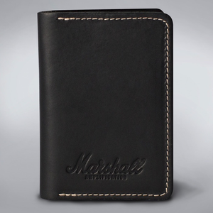 Marshall Embossed Script Leather Card Holder Wallet