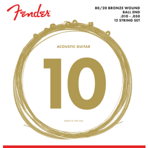 Fender 12-String Acoustic String Set, 80/20 Bronze, 70L-12 .010-.050