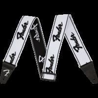 """Fender Strap 2"""" WeighLess, Running Logo, White/Black"""