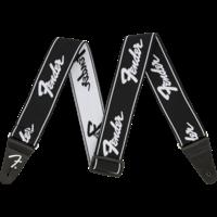 """Fender Strap 2"""" WeighLess, Running Logo, Black/White"""