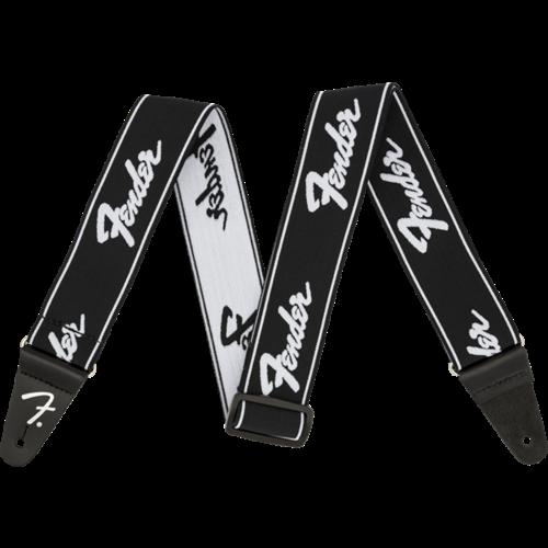 """Fender Accessories Fender Strap 2"""" WeighLess, Running Logo, Black/White"""