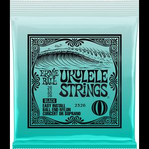 Ernie Ball Ukulele String Set, Ball End, Concert/Soprano, Black