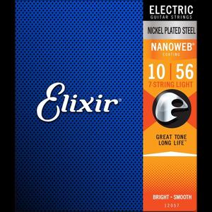 Elixir Nanoweb Coated 7-String Electric Guitar String Set, Nickel, .010-.056