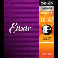 Elixir Nanoweb Coated 12-String Guitar String Set, 80/20 Bronze, .010-.047