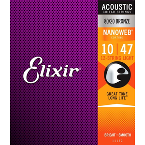 Elixir Nanoweb Coated 12-String Guitar String Set, 80/20 Bronze, .010-.047
