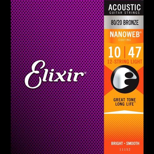 Elixir Elixir Nanoweb Coated 12-String Guitar String Set, 80/20 Bronze, .010-.047