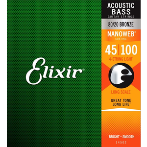 Elixir Nanoweb Coated Acoustic Bass String Set, 80/20 Bronze, .045-.100