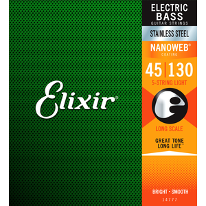 Elixir Nanoweb Coated 5-String Bass Guitar String Set, Stainless Steel