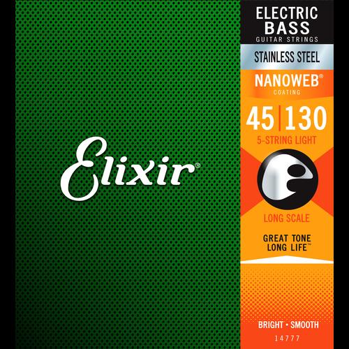 Elixir Elixir Nanoweb Coated 5-String Bass Guitar String Set, Stainless Steel