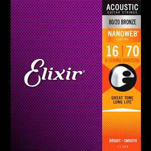 Elixir Nanoweb Coated Baritone Guitar 8-String Set, 80/20 Bronze, .016-.070