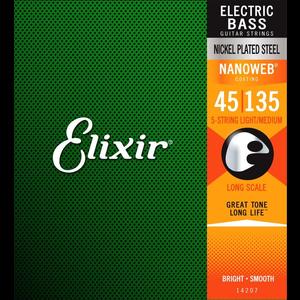 Elixir Nanoweb Coated 5-String Bass Guitar String Set, Nickel, .045-.135