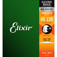 Elixir Nanoweb Coated 5-String Bass Guitar String Set, Nickel, .045-.130