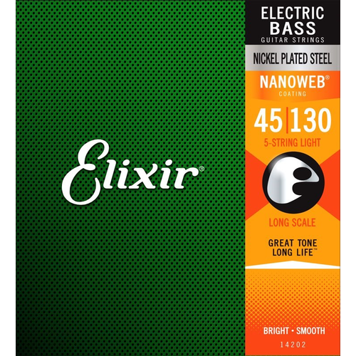 Elixir Elixir Nanoweb Coated 5-String Bass Guitar String Set, Nickel, .045-.130