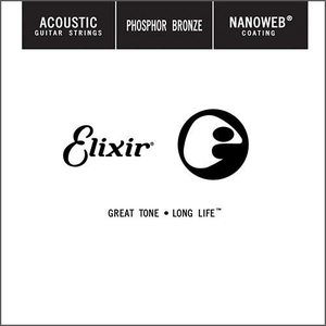 Elixir Nanoweb Coated Single String, Phosphor Bronze