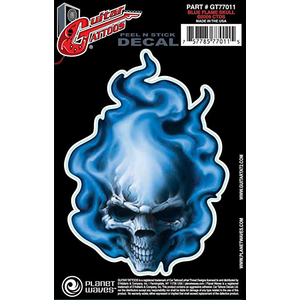 Planet Waves Guitar Tattoo - Blue Flame Skull