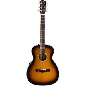 Fender CT-140SE Electro-Acoustic Travel Guitar, Solid Spruce Top, Rosewood Back, w/ Case, Sunburst