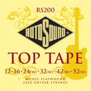 Rotosound RS200 Top Tape Flatwound Monel Jazz Guitar String Set, .012-.052