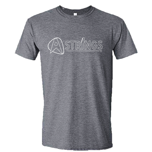 A Strings A Strings Silhouette Logo T-Shirt, Graphite Heather