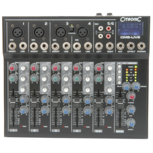 Citronic CM6-LIVE compact mixer with Delay + USB/SD player