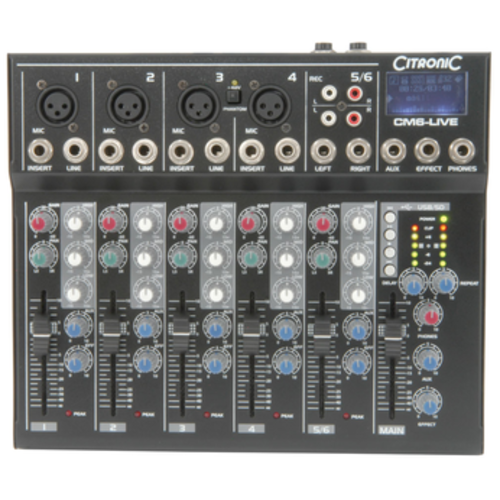 Citronic Citronic CM6-LIVE compact mixer with Delay + USB/SD player