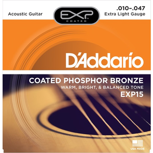 D'Addario EXP Coated Acoustic String Set, Phosphor Bronze