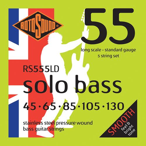 Rotosound Rotosound Solo Bass 55 Pressurewound 5-String Set, .045-.130