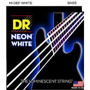 DR Neon Bass String Set, White, .045-.105