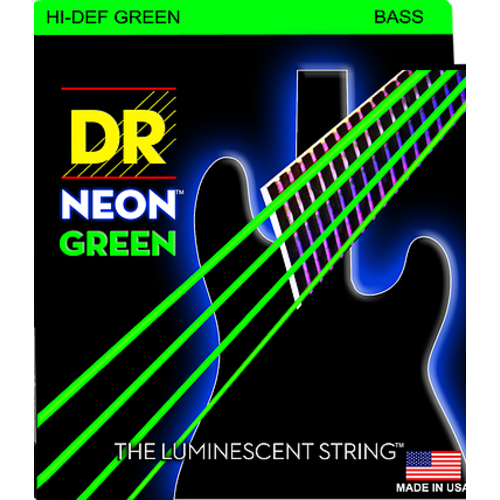 DR Strings DR Neon 5-String Bass String Set, Green, .045-.125
