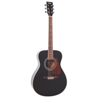 Vintage V300BK Folk Guitar, Solid Spruce Top, Black
