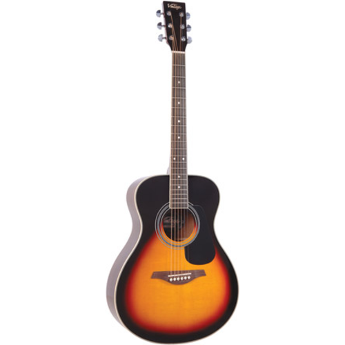 Vintage Vintage V300VSB Folk Guitar, Solid Spruce Top, Vintage Sunburst