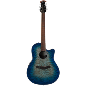 Ovation CS28P-RG Celebrity Standard Exotic Quilted Maple, Super Shallow, Caribbean Blue