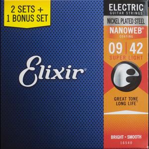 Elixir 3-Pack Nanoweb Coated Electric Guitar Set, .009-.042