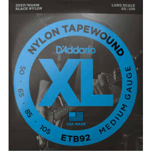 D'Addario Black Nylon Tapewound Bass Guitar String Set