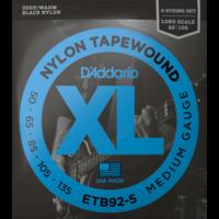 D'Addario Black Nylon Tapewound 5-String Bass Guitar String Set, Flatwound, ETB92-5 Medium .050-.135